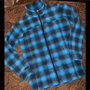Columbia Boys Blue And black Plaid Flannel Top